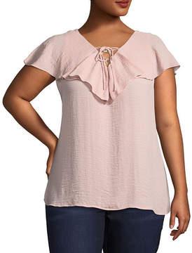 Boutique + + Short Flutter Sleeve Lace up Woven Blouse - Plus