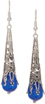 Carole Blue Crystal & Silvertone Long Drop Earrings
