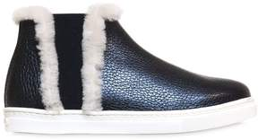 Il Gufo Leather & Shearling High Top Sneakers