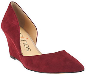 Sole Society As Is Suede Pointed Toe Wedges - Jillian