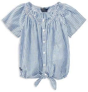 Polo Ralph Lauren Girls' Striped Tie-Front Top - Little Kid