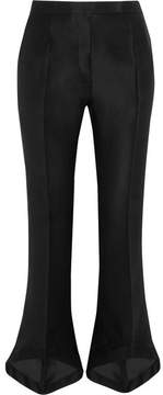 Antonio Berardi Cropped Silk And Cotton-blend Twill Bootcut Pants - Black