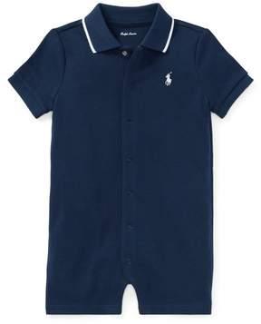 Ralph Lauren | Cotton Interlock Polo Shortall | 18-24 months | Navy