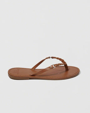 Abercrombie & Fitch Leather Braided Strap Sandals