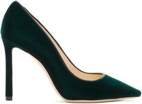 Jimmy Choo Green Velvet Romy Heels