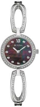 Bulova Ladies' Swarovski Crystal-Accented Black Dial Bangle Watch, 96L224