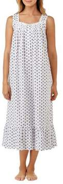 Eileen West Flower Silhouette Print Cotton Dress
