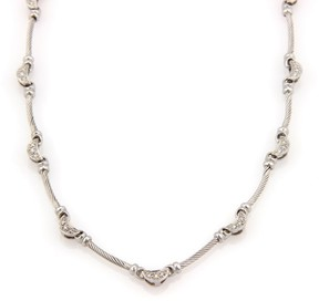 Charriol Philippe 18K White Gold Diamond Moon and Cable Link Designer Necklace