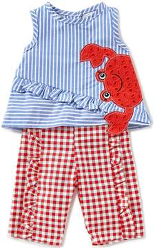 Rare Editions Baby Girls Newborn-24 Months Striped Crab Applique Top & Gingham Pant Set