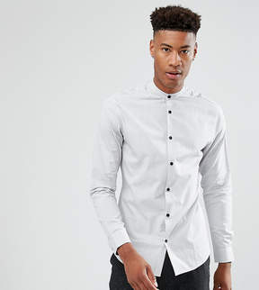 Selected TALL Slim Shirt In Mini Grid Print With Contrast Buttons And China Collar