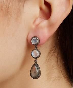 Athena ADORNIA Moonstone, Labradorite, And Champagne Diamond Earrings.