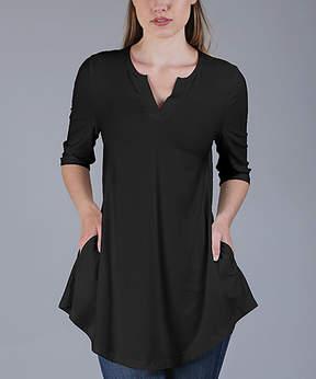 Azalea Black Side-Pocket Notch Neck Tunic - Women & Plus