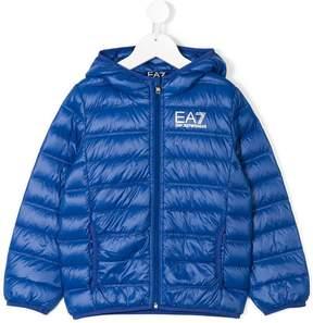 Emporio Armani Kids logo print padded jacket