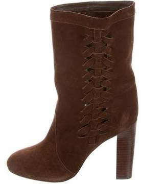 Delman Woven Suede Ankle Boots