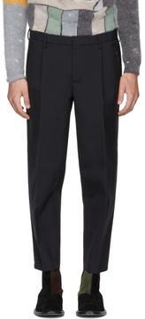 Kolor Navy Wool Pleated Trousers