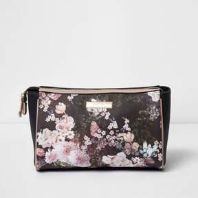 River Island Womens Black floral print make-up bag