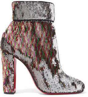 Christian Louboutin Moulamax 100 Sequined Leather Ankle Boots - Metallic