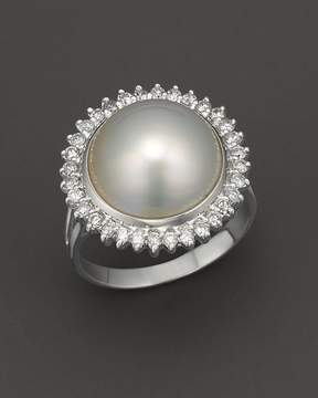 Bloomingdale's Cultured Mabé Pearl Ring with Diamonds in 14K White Gold, 12mm