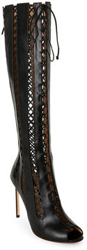 Francesco Russo Black Laser-Cut Pointed Toe Lace-Up Boots