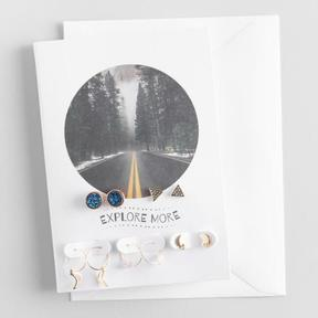 World Market Blue Stone and Quartz Earrings Gift Set with Greeting Card