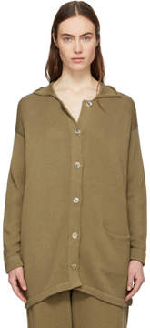 LAUREN MANOOGIAN Brown Button Long Cardigan