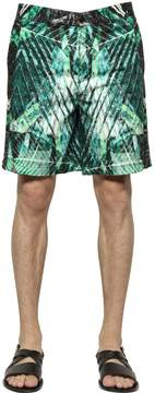 Just Cavalli Wild Safari Printed Light Canvas Shorts