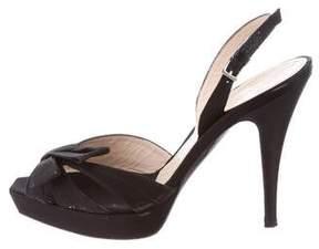 Alberta Ferretti Satin Slingback Sandals