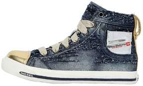 Diesel Destroyed Denim & Leather Sneakers