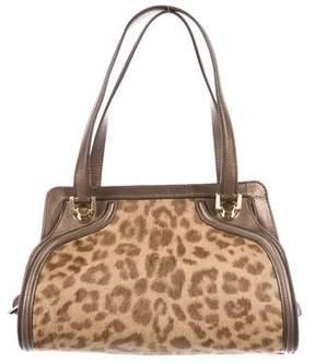 Salvatore Ferragamo Metallic Leather-Trimmed Ponyhair Handle Bag