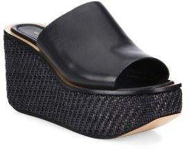 Michael Kors Jane Leather Wedge Platform Mules
