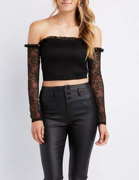 Charlotte Russe Ruffle-Trim Lace Off-The-Shoulder Crop Top
