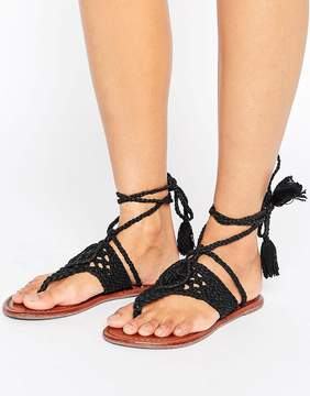 Asos FOSSIL Crochet Tie Leg Flat Sandals