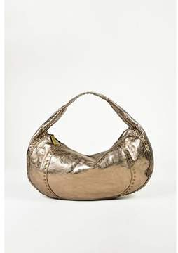 Kooba Pre-owned Metallic Brown Crinkled Leather Studded Shoulder Bag.