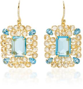 Bounkit Blue Quartz and Citrine Earrings