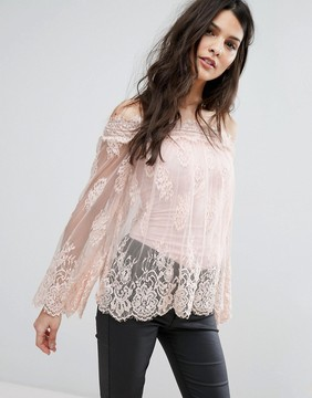 Club L Off Shoulder Bell Sleeve Lace Top With Cami Underlay