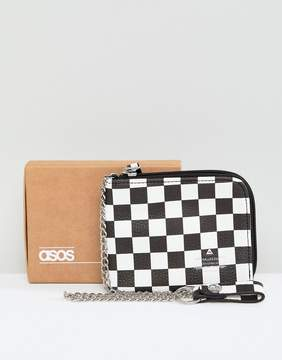 Asos Faux Leather Zip Around Wallet In Checkerboard Print