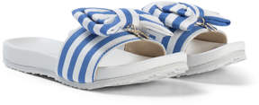 MonnaLisa Blue Stripe Bow Slip On with Branded Heart