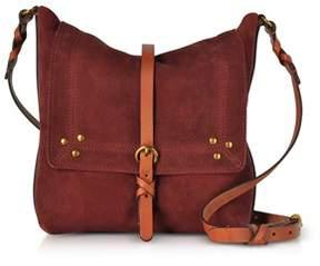 Jerome Dreyfuss Women's Burgundy Suede Shoulder Bag.