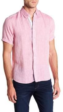 Report Collection Horiztonal Striped Short Sleeve Slim Fit Linen Shirt