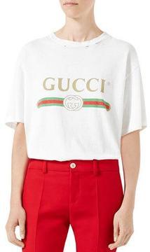 Gucci Gucci-Print Cotton Tee, White