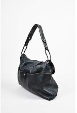 Hogan Pre-owned Black Leather Silver Tone Belt Slouchy Hobo Large Shoulder Bag.