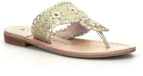 Jack Rogers Girls Miss Sparkle Leather Whipstitched Slip-On Sandals