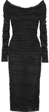Dolce & Gabbana Off-the-shoulder Ruched Polka-dot Silk-blend Chiffon Midi Dress - Black