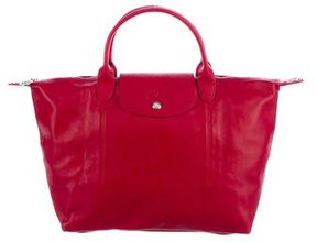 Longchamp Le Pliage Medium Leather Satchel - RED - STYLE