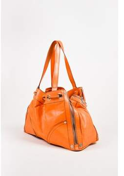 Mulberry Pre-owned Orange Leather Zipper & Grommet Detailed Tote Bag.