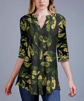 Azalea Green Leaves V-Neck Tunic - Women