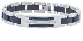 Armani Exchange Jewelry Mens Diamond Id Cable Bracelet In Stainless Steel (0.20 Carats. H-i I3).
