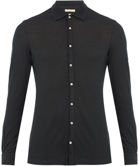 Massimo Alba Spread-collar cotton and cashmere-blend shirt