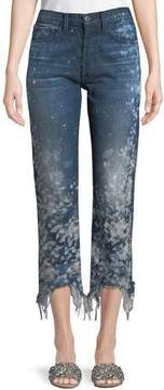 3x1 W3 Higher-Ground Straight-Leg Cropped Jeans w/ Distressed Sides