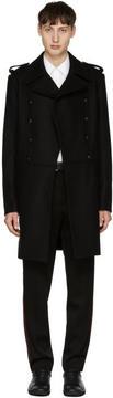 Pierre Balmain Black Long Double-Breasted Military Coat
